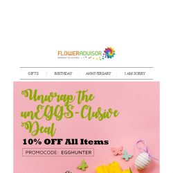 [Floweradvisor] Unwrap these unEGGS-CLUSIVE deals, with no limit🐰