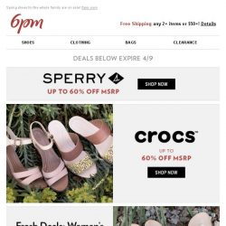 [6pm] Up to 60% off Sperry, Crocs, SKECHERS and more!