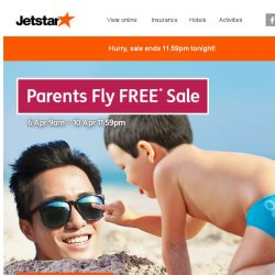 [Jetstar] 🕘 Last chance to book a holiday for your parents for FREE!
