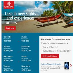 [Emirates] Fly to Colombo and other destinations – save up to 15%