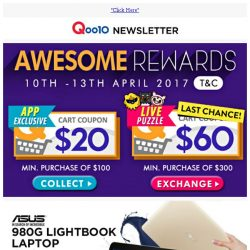 [Qoo10] Your $60 Coupon Expires Soon!