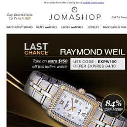 [Jomashop] FINAL HOURS: Raymond Weil Diamond Watch $549 • Lucien Piccard Men's Watches $50 Shipped