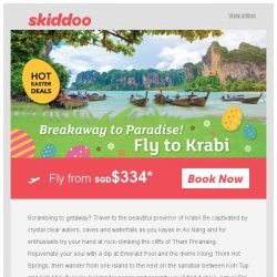 [Skiddoo] 🐇 Hunt for cheap flights with Skiddoo's Easter Sale! 🐇 | Fly to Krabi fr. $334* | Fly to Penang fr. $111*