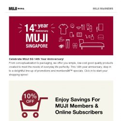 [Muji] Shop the long weekend with MUJI Members Discount!