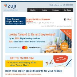 [Zuji] Ready for the next long weekend? Fly fr $100 + Mastercard discounts!