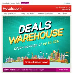 [Hotels.com] Discover our Deals Warehouse + Enjoy savings of up to 70%!