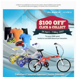 [Giant] Get $100 Off your bicycle TODAY. Click & Collect yours NOW!