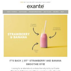 [Exante Diet] It's Back! Strawberry & Banana Smoothie Plus Last Chance - Mystery Discount - Up To 50% Off!