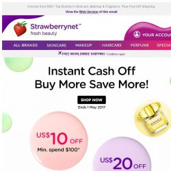 [StrawberryNet] , want up to US$20 Cash Off your next beauty buy? Don't wait - Just shop!