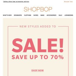[Shopbop] Up to 70% off: new styles on SALE!