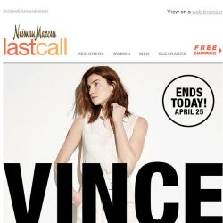 [Last Call] Whoa! Extra 30% off Vince + must-have sneakers, bags, jewelry, & more