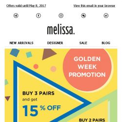 [Mdreams] Golden Week Special: up to EXTRA 15% off everything