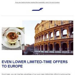 [Finnair] Limited-time offers extended – Rome from 799 SGD