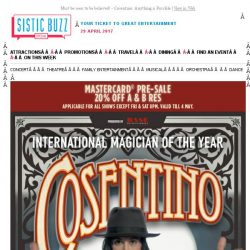 [SISTIC] Must be seen to be believed! - Cosentino: Anything is Possible