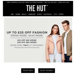 [The Hut] Up to £25 off Fashion | 3 for 2 Elizabeth Arden | Extra 10% off Asics Outlet and more...