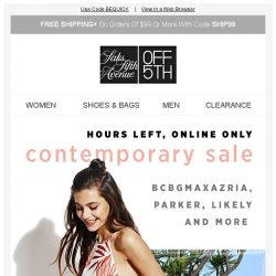 [Saks OFF 5th] HOURS LEFT: EXTRA 20% OFF contemporary styles!