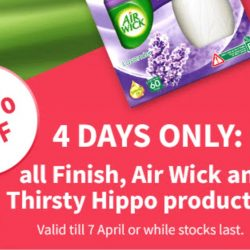 Redmart: Enjoy 50% Savings on ALL Finish, Air Wick and Thirsty Hippo Products!