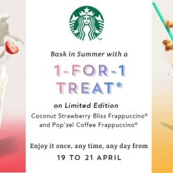 Starbucks: Enjoy 1-for-1 Treat on Limited Edition Coconut Strawberry Bliss Frappuccino© & Pop'zel Coffee Frappuccino©!
