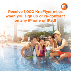 [M1] Receive 1,000 KrisFlyer miles when you sign up or re-contract on any iPhone or iPad with a 2-
