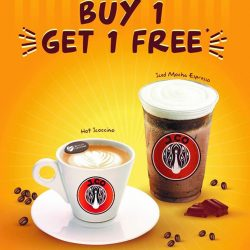 [J.Co Donuts & Coffee] Don't forget to drop by our stores today for our 1 for 1 treat from 3pm to 8pm!