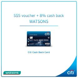 [Citibank ATM] Shop with your Citi Cash Back Card at any Watsons store now!