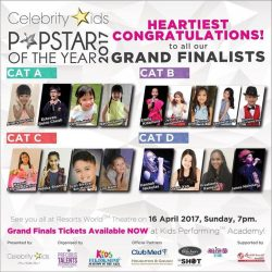 [Kids Performing™ Academy of the Arts] Congratulations to all who got in the GRAND FINALS for PopstarOfTheYear2017 🎉🎉🎊 Can't wait to see them perform at the