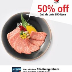 [Tenkaichi] 50% OFF 2nd ala carte BBQ items Plus additional 9% dining rebate*Make your reservation now at www.