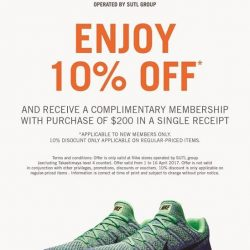 [Nike Singapore] From now till 16 April 2017, enjoy 10% off and receive a complimentary membership with purchase of $200 in a