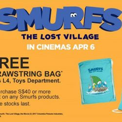 [Isetan] Receive a FREE Smurfs Drawstring Bag when you make a $40 or more nett purchase in a single receipt on