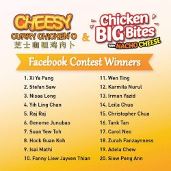 [Old Chang Kee Singapore] Congratulations to all the Cheesy Curry Chicken'O and Chicken Big Bites with Cheese Facebook Contest Winners!