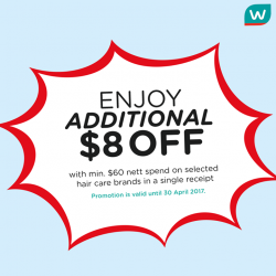 [Watsons Singapore] Enjoy ADDITIONAL $8 OFF with a min.