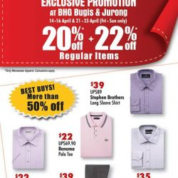 [BHG Singapore] Check out our Exclusive Menswear Promotion happening this weekend!