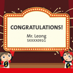 "[OCBC ATM] Congratulations to Mr Leong, the winner of a Toys""R""Us shopping spree!"