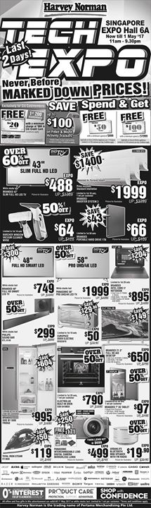 [Harvey Norman] You can be sure of great savings, exclusive promotions and fun activities at HarveyNormanSG Tech Expo 2017.
