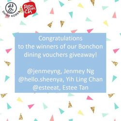 [Shine Korea] Thank you for participating in our recent Bonchon Dining Vouchers Giveaway!