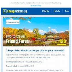 [cheaptickets.sg] ⏰ 72-hr sale: 2-to-travel fares to Korea & more from Cathay Pacific