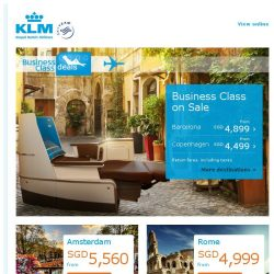 [KLM] 3-Day Business Class Sale! New lie-flat Business class seat daily from Singapore