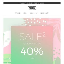 [Yoox] Sale²: up to an EXTRA 40% off | Plus, an EXTRA 20% off a sale selection