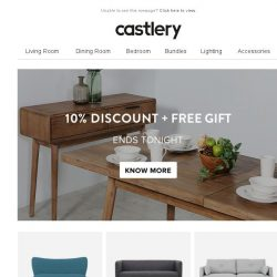 [Castlery] 10% OFF + FREE GIFT! ENDS TONIGHT