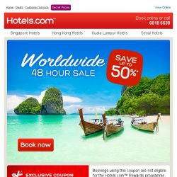 [Hotels.com] [48 hours only] Save up to 50% + save an extra 10%