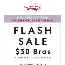 [Triumph] 🍭Public Holiday Treat: FLASH SALE $30 BRAS