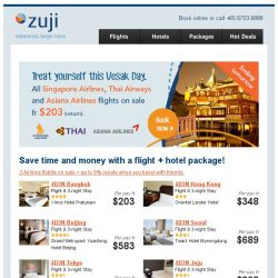 [Zuji] 3 airlines on sale: Singapore Airlines, Thai Airways & Asiana Airlines!