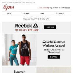[6pm] Reebok up to 60% off and more deals!