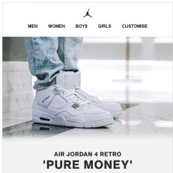 [Nike] Available Now: The Air Jordan 4 'Pure Money'