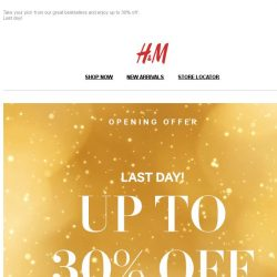 [H&M] Last day: up to 30% off stylish bestsellers!