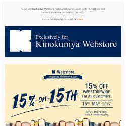 [Books Kinokuniya]  Enjoy 15% discount Webstorewide on 15th May 2017, exclusively on Kinokuniya Webstore Singapore for all customers!