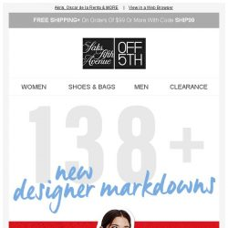 [Saks OFF 5th] Up to 85% OFF 138+ New DESIGNER Markdowns