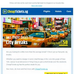 [cheaptickets.sg] 📷 Insider City Breaks from $58 that you don't want to miss out!
