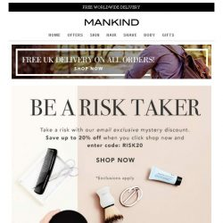[Mankind] Save up to 20% off - Mystery Discount
