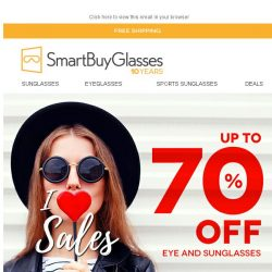 [SmartBuyGlasses] UP TO 70% OFF EYE AND SUNGLASSES | I ❤ SALES
